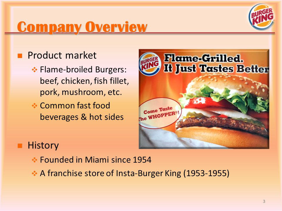 Company Overview Product market History