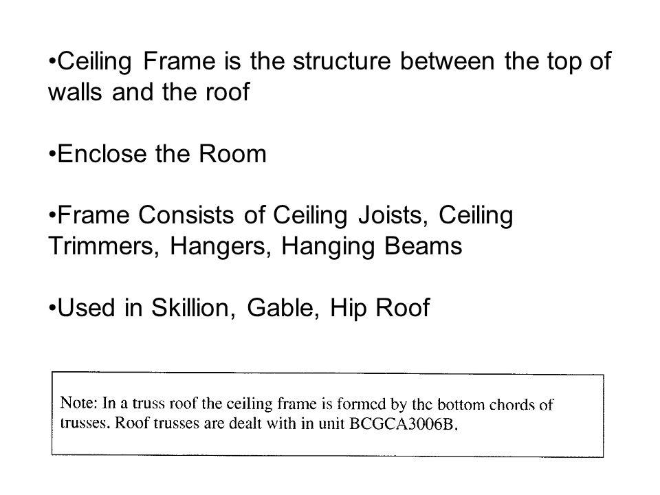 Ceiling Frame is the structure between the top of walls and the roof