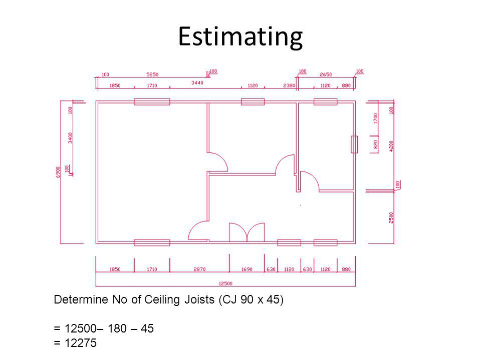 Estimating Determine No of Ceiling Joists (CJ 90 x 45)