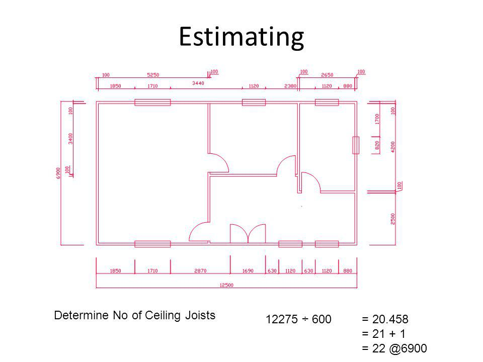 Estimating Determine No of Ceiling Joists 12275 ÷ 600 = 20.458