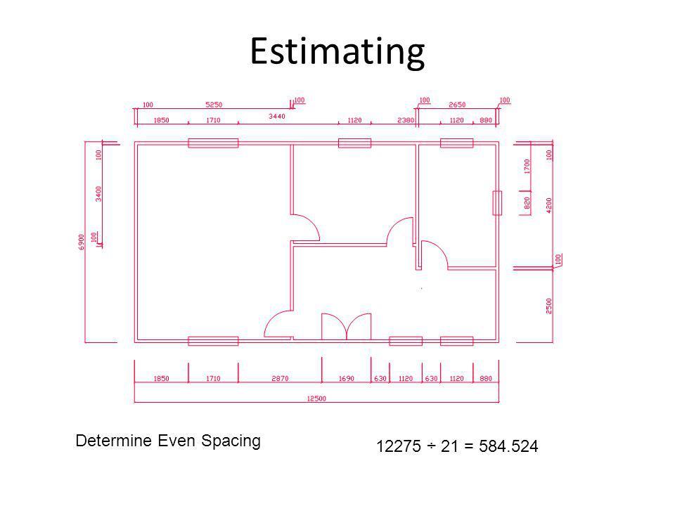 Estimating Determine Even Spacing 12275 ÷ 21 = 584.524