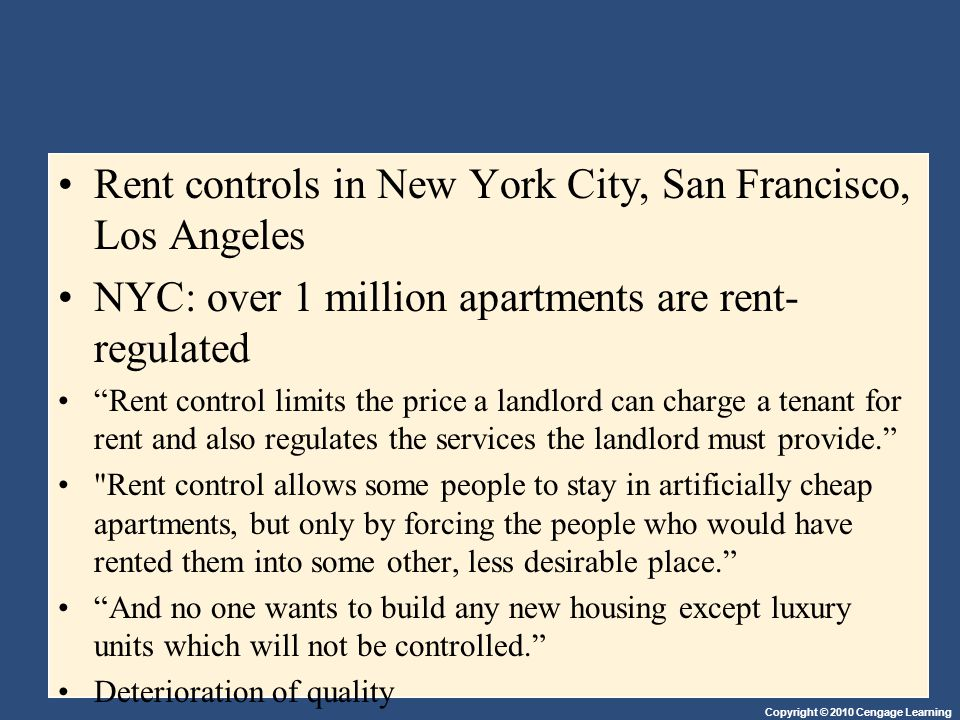 Rent controls in New York City, San Francisco, Los Angeles