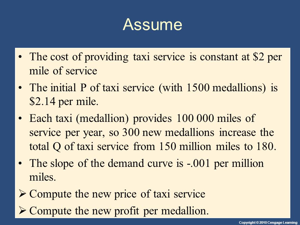 Assume The cost of providing taxi service is constant at $2 per mile of service.