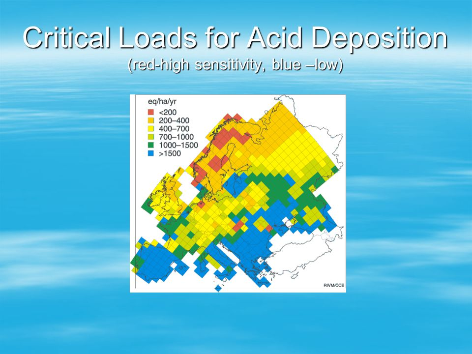 Critical Loads for Acid Deposition (red-high sensitivity, blue –low)
