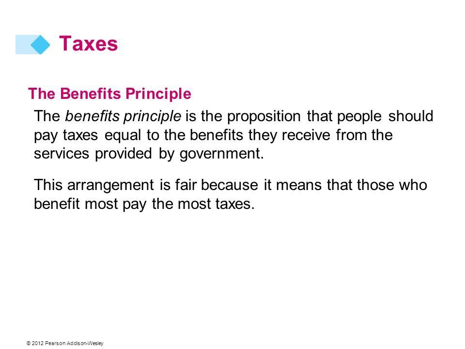 Taxes The Benefits Principle