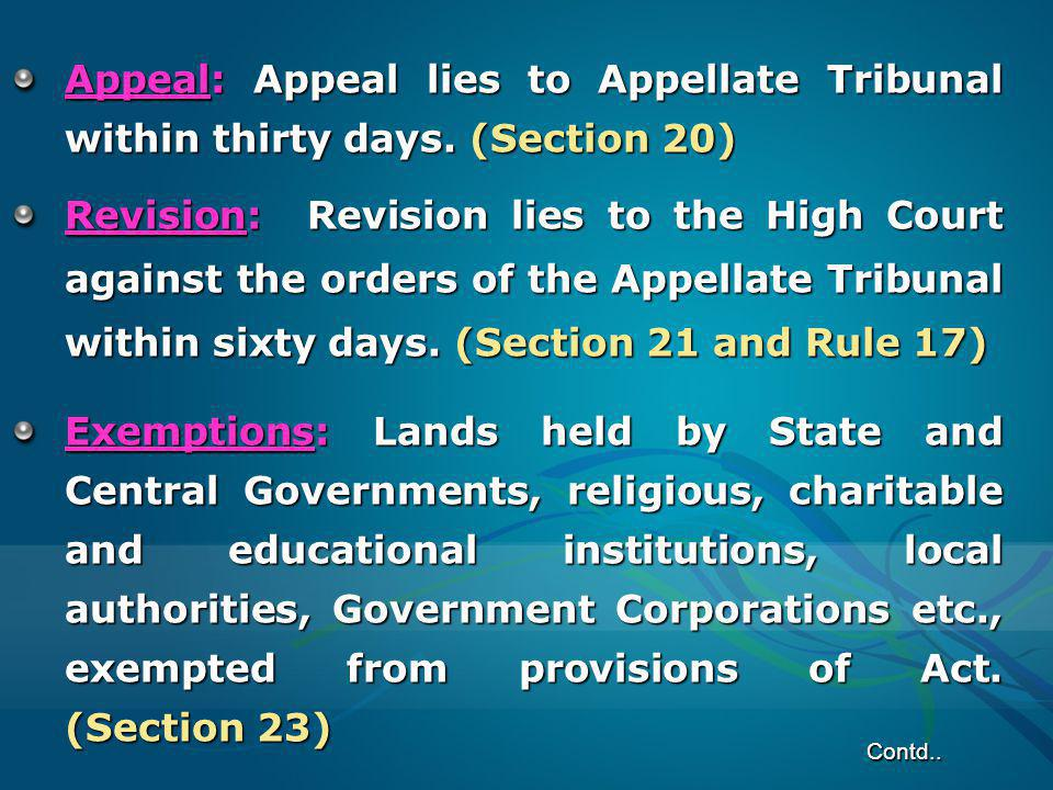 Appeal: Appeal lies to Appellate Tribunal within thirty days