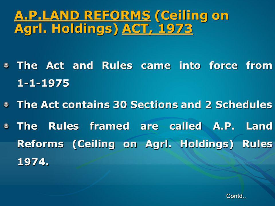 A.P.LAND REFORMS (Ceiling on Agrl. Holdings) ACT, 1973