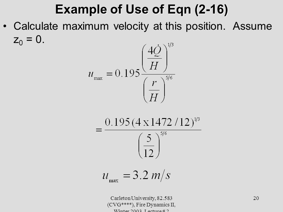 Example of Use of Eqn (2-16)