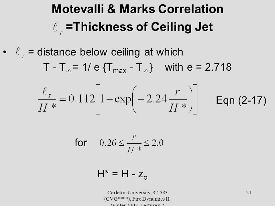 Motevalli & Marks Correlation =Thickness of Ceiling Jet