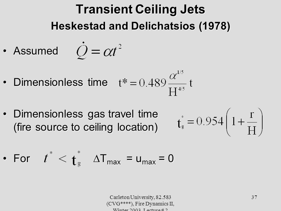 Transient Ceiling Jets Heskestad and Delichatsios (1978)
