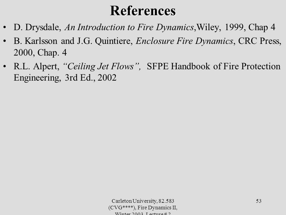 References D. Drysdale, An Introduction to Fire Dynamics,Wiley, 1999, Chap 4.