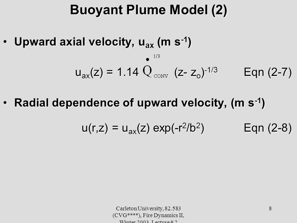 Buoyant Plume Model (2) Upward axial velocity, uax (m s-1)
