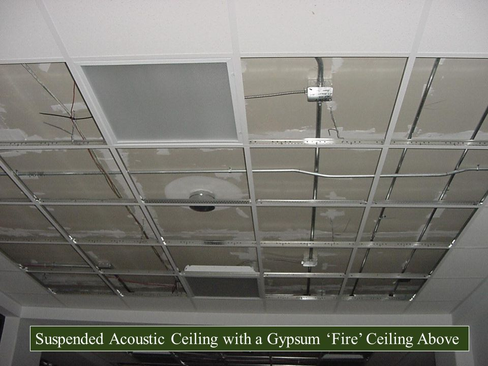 Suspended Acoustic Ceiling with a Gypsum 'Fire' Ceiling Above