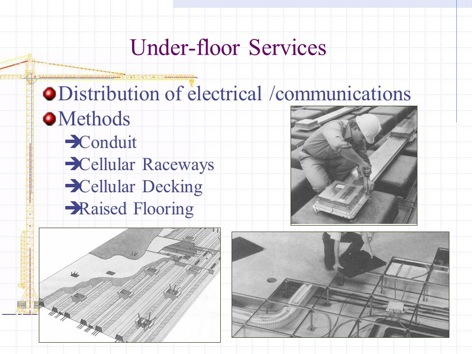 Under-floor Services Distribution of electrical /communications