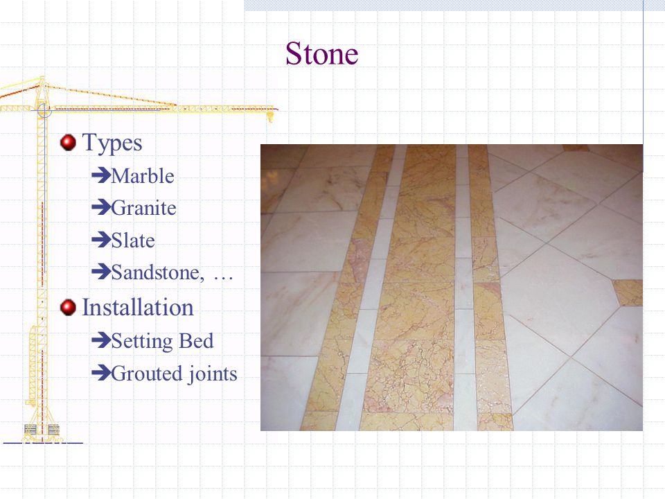 Stone Types Installation Marble Granite Slate Sandstone, … Setting Bed