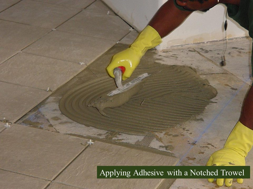 Applying Adhesive with a Notched Trowel