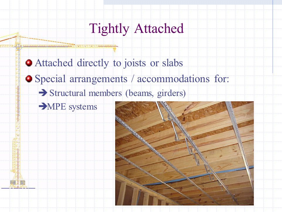 Tightly Attached Attached directly to joists or slabs