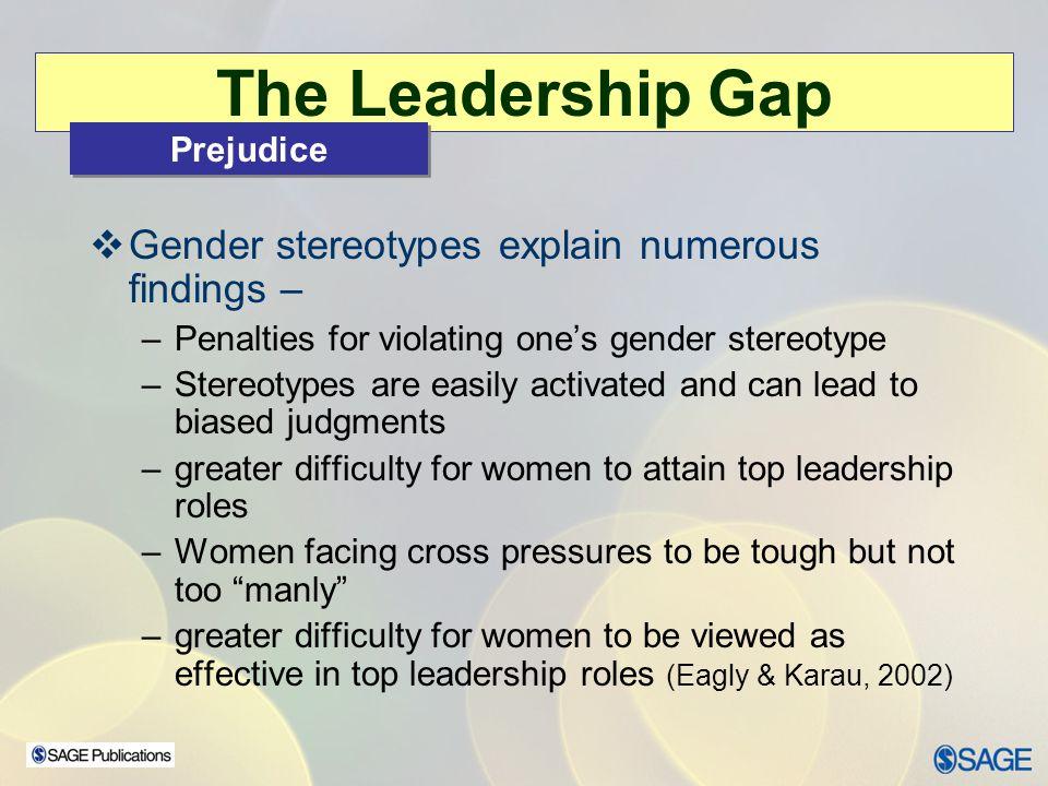 The Leadership Gap Gender stereotypes explain numerous findings –