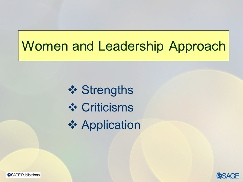 Women and Leadership Approach