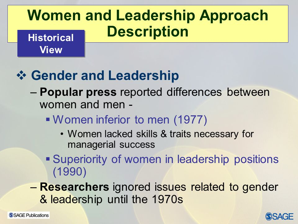 Women and Leadership Approach Description