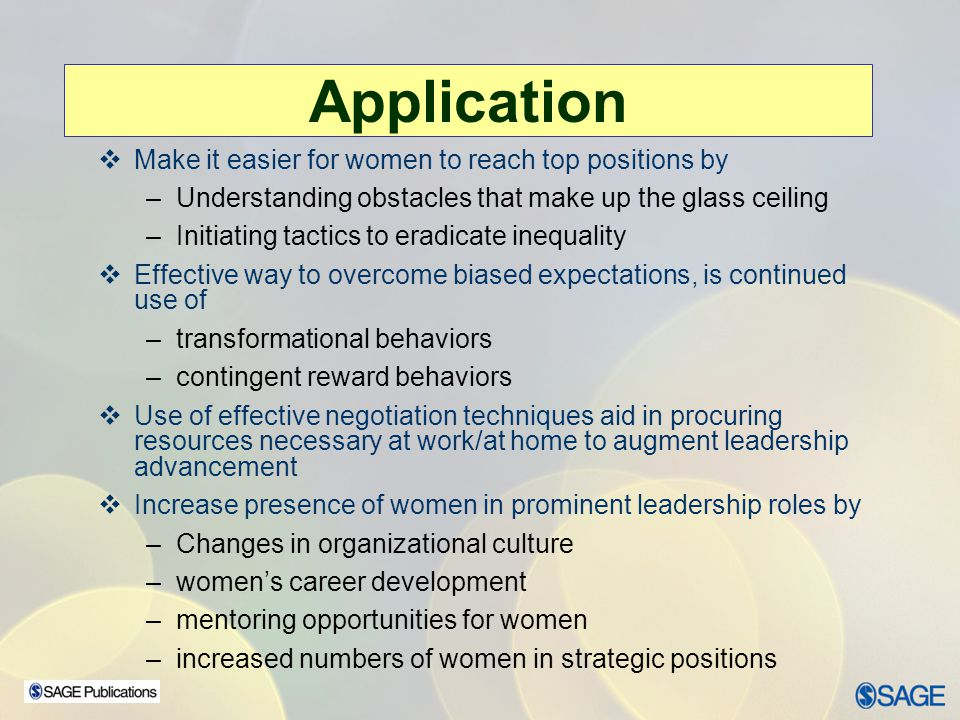 Application Make it easier for women to reach top positions by