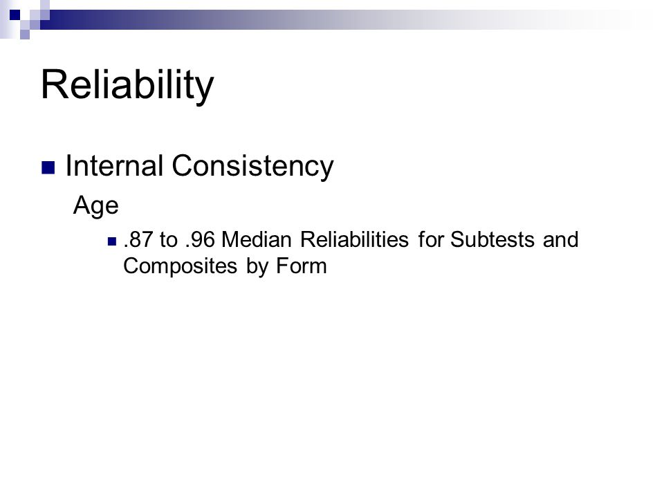 Reliability Internal Consistency Age