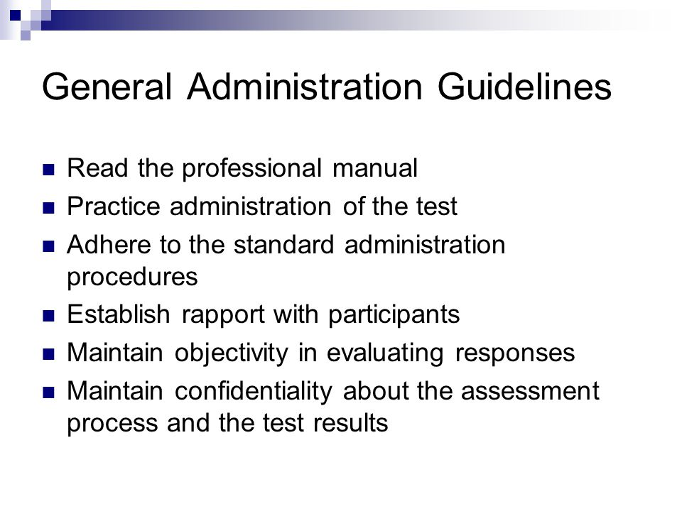 General Administration Guidelines