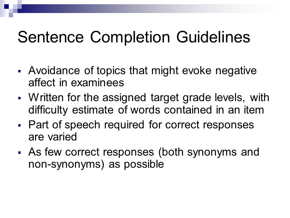 Sentence Completion Guidelines