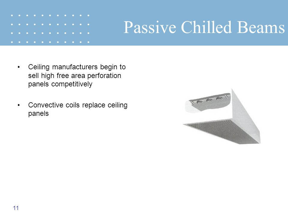 • • • • • • • • • • • Passive Chilled Beams. Ceiling manufacturers begin to sell high free area perforation panels competitively.