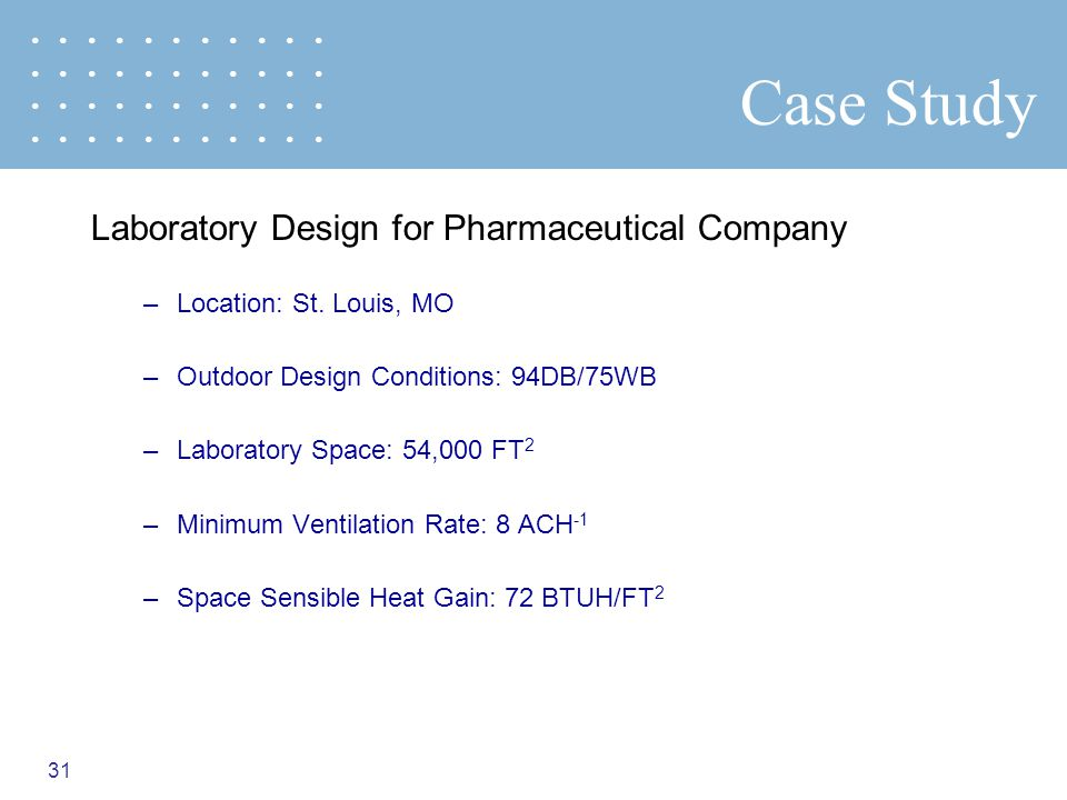 Case Study Laboratory Design for Pharmaceutical Company