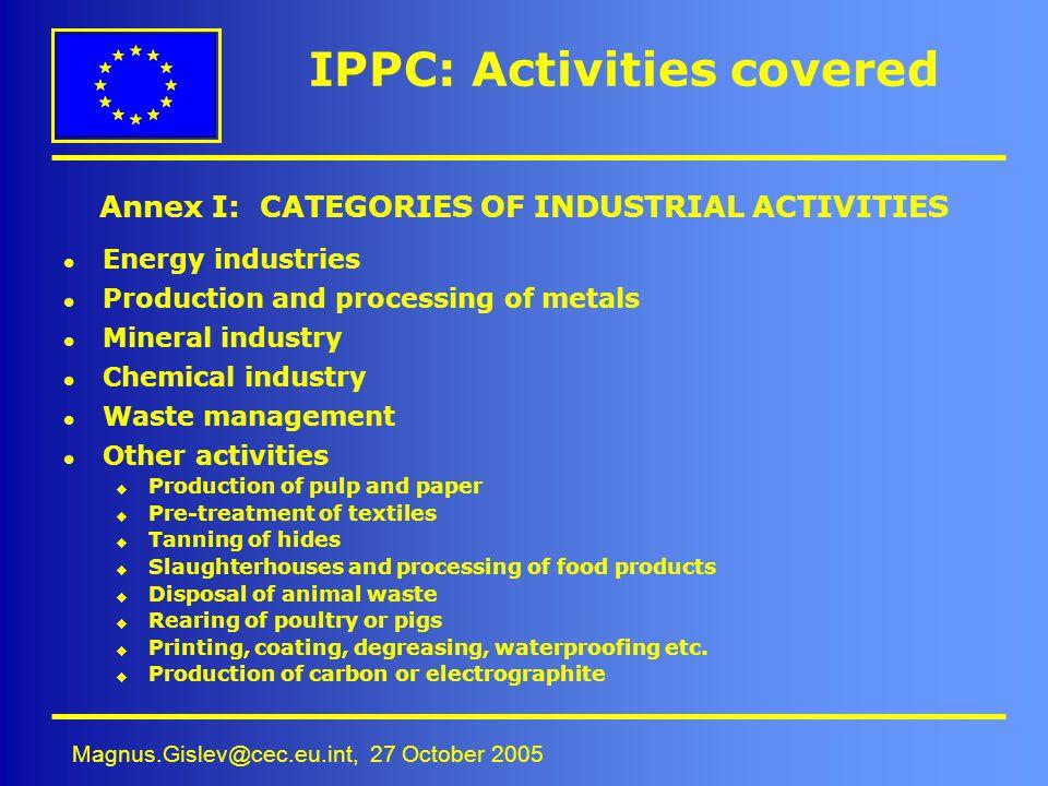 IPPC: Activities covered