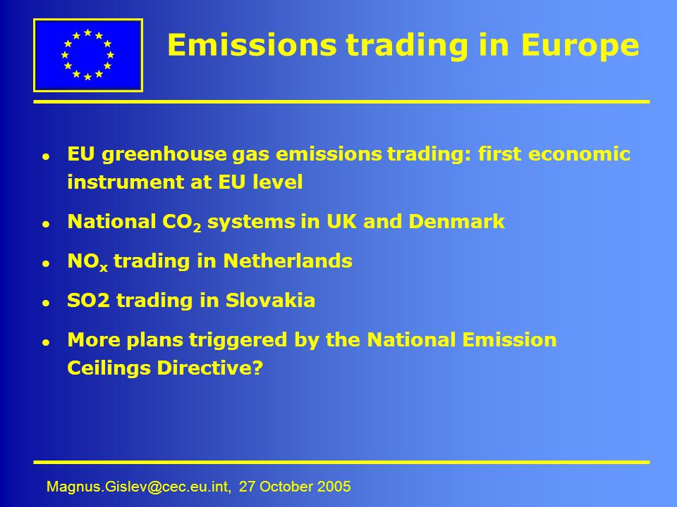 Emissions trading in Europe