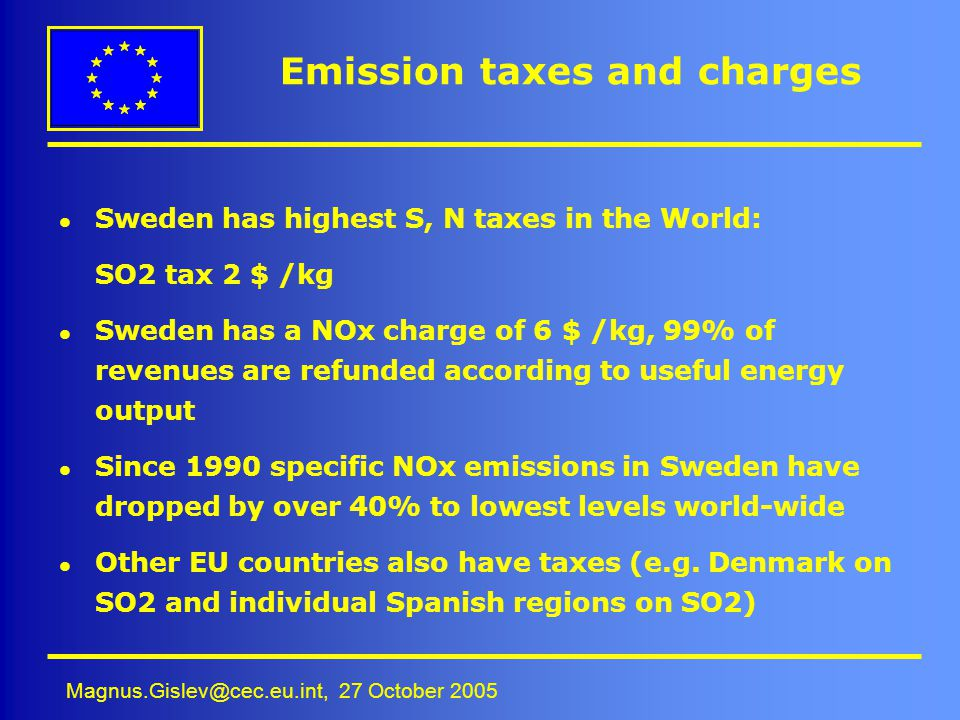 Emission taxes and charges