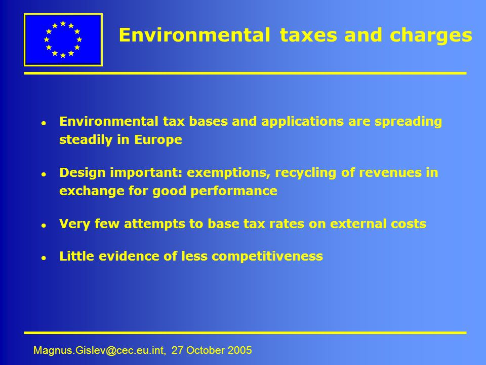 Environmental taxes and charges