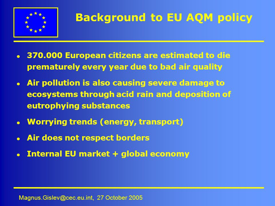 Background to EU AQM policy