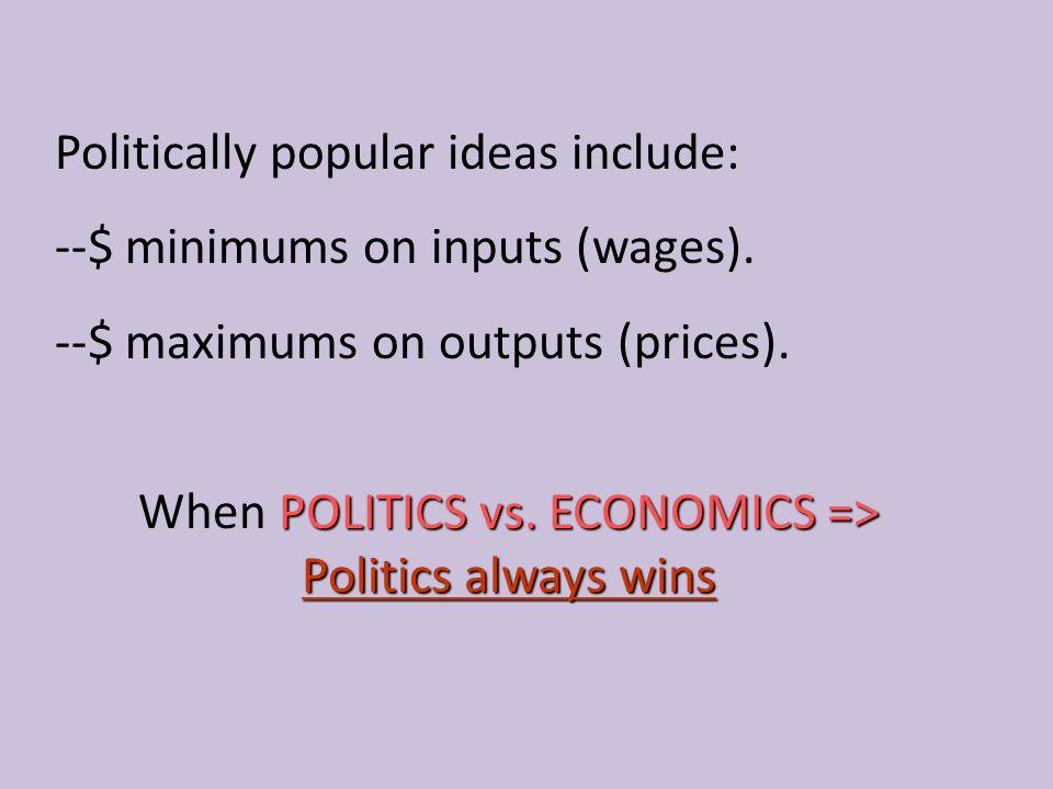 When POLITICS vs. ECONOMICS => Politics always wins