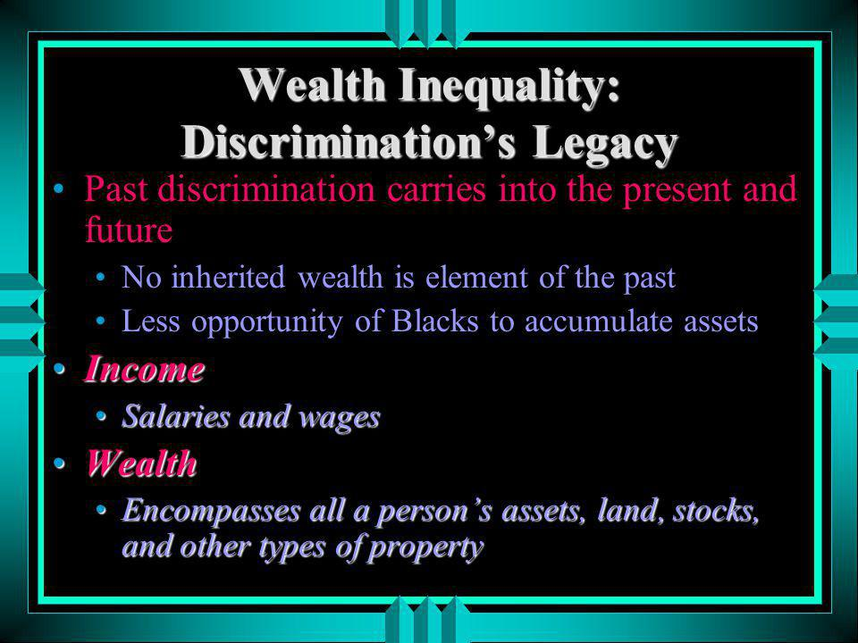 Wealth Inequality: Discrimination's Legacy