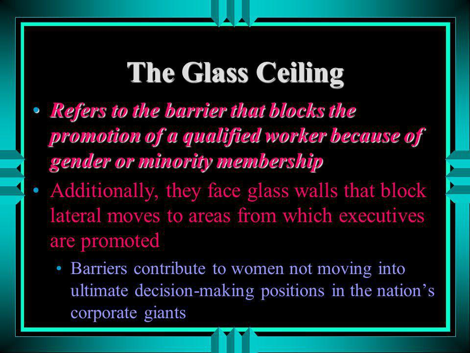The Glass Ceiling Refers to the barrier that blocks the promotion of a qualified worker because of gender or minority membership.