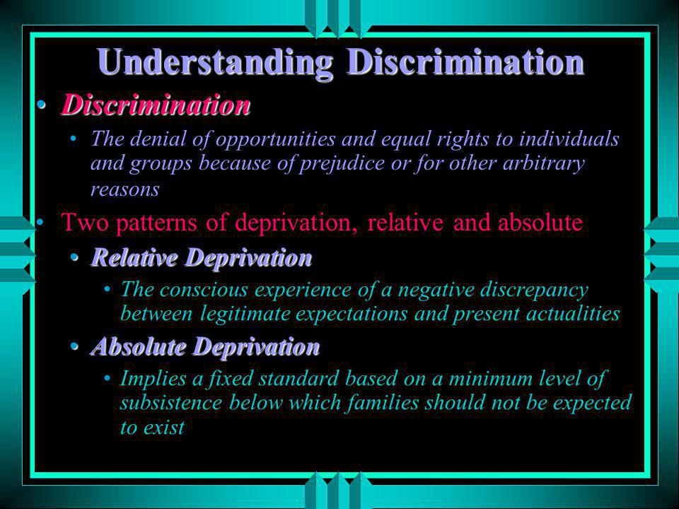 understanding discrimination in society Age discrimination 'rooted' in society, government finds old age officially begins when people reach the age of 54 and youth ends when people turn 32, a government survey has found.