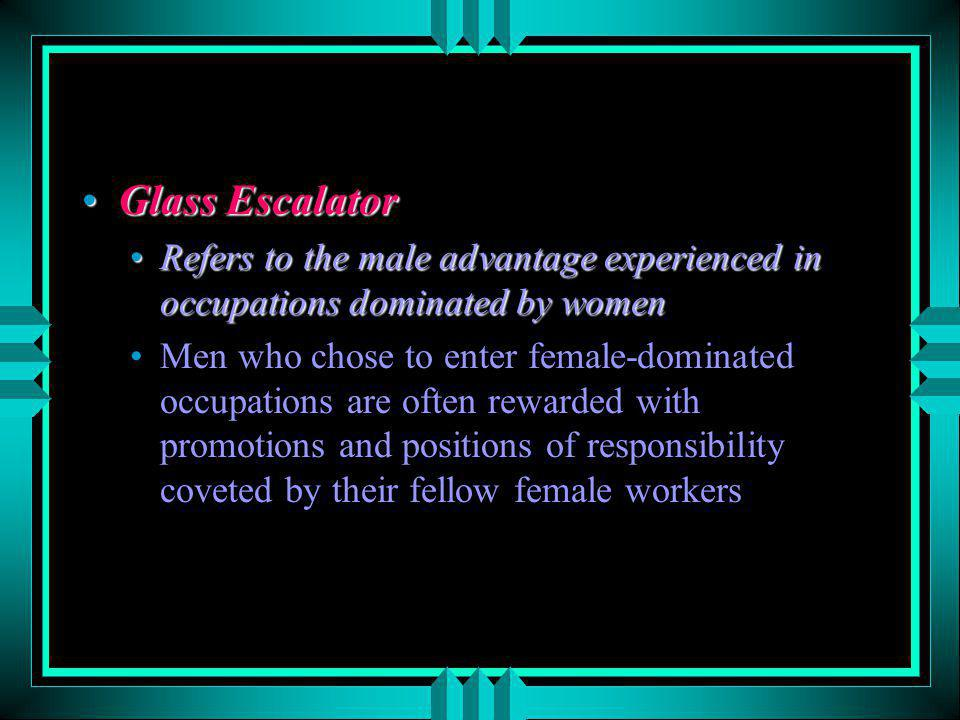 Glass Escalator Refers to the male advantage experienced in occupations dominated by women.
