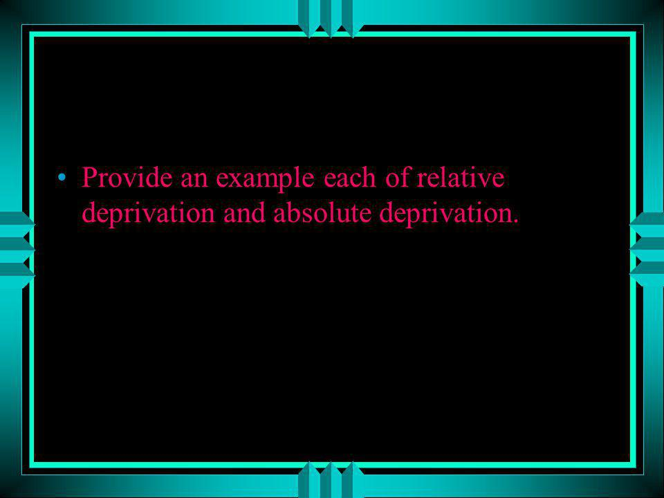 Provide an example each of relative deprivation and absolute deprivation.