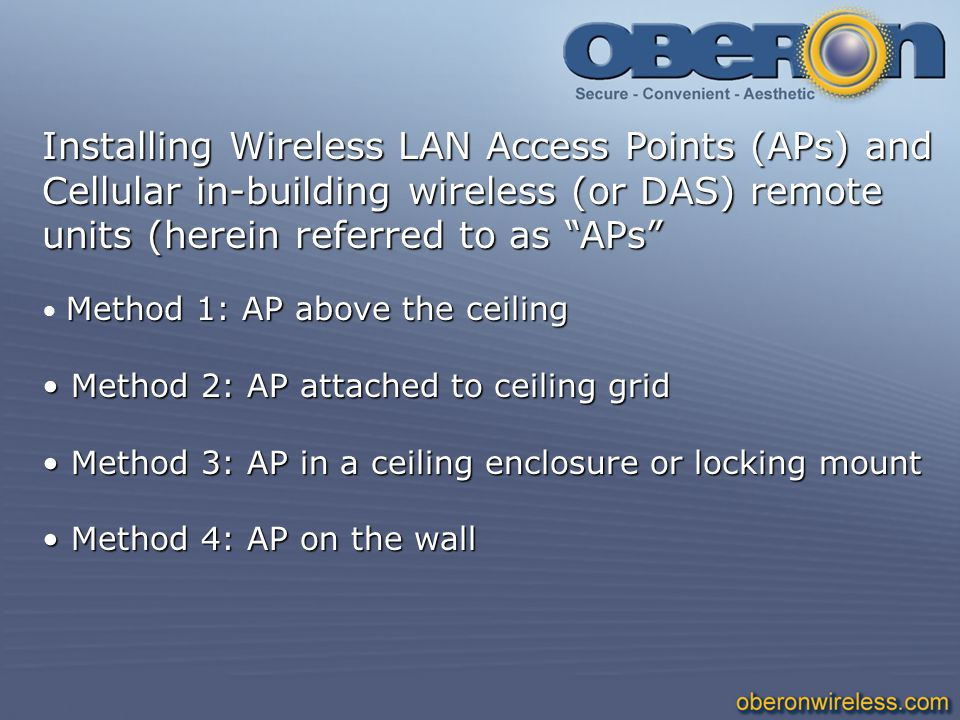 Installing Wireless LAN Access Points (APs) and Cellular in-building wireless (or DAS) remote units (herein referred to as APs