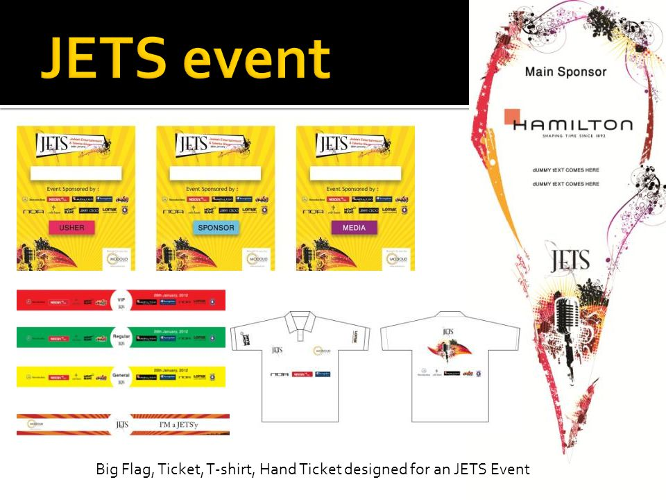 JETS event Big Flag, Ticket, T-shirt, Hand Ticket designed for an JETS Event