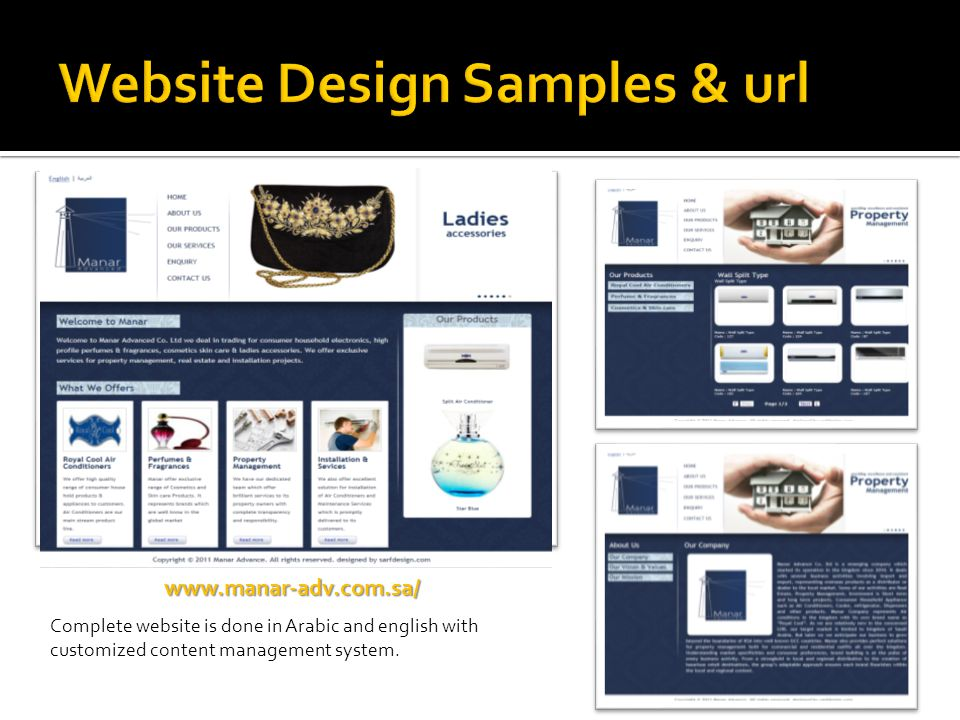 Website Design Samples & url