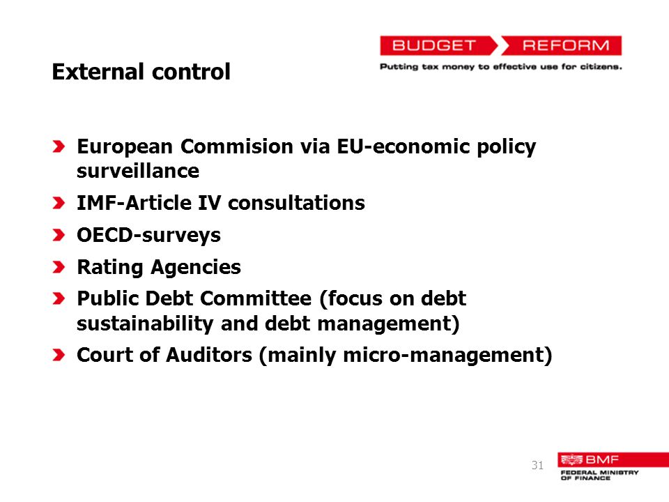 External control European Commision via EU-economic policy surveillance. IMF-Article IV consultations.