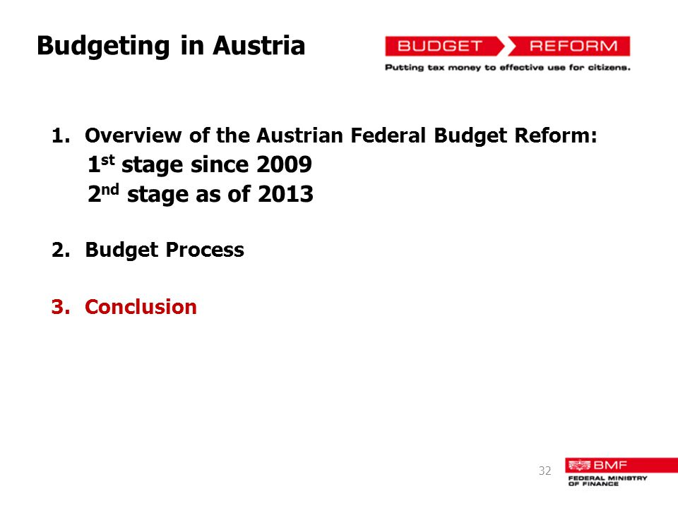 Budgeting in Austria 1st stage since 2009 2nd stage as of 2013