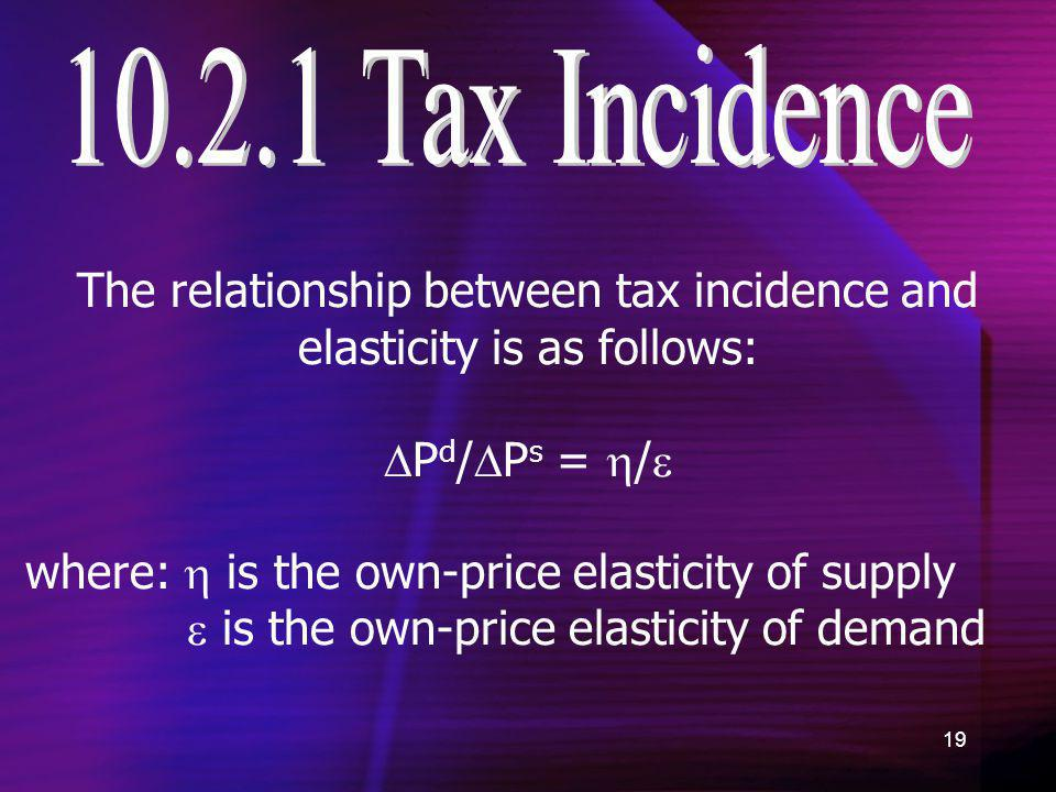 The relationship between tax incidence and elasticity is as follows: