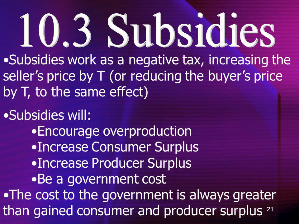 10.3 Subsidies Subsidies work as a negative tax, increasing the seller's price by T (or reducing the buyer's price by T, to the same effect)