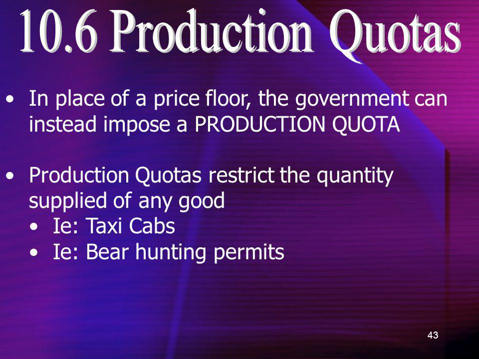 10.6 Production Quotas In place of a price floor, the government can instead impose a PRODUCTION QUOTA.
