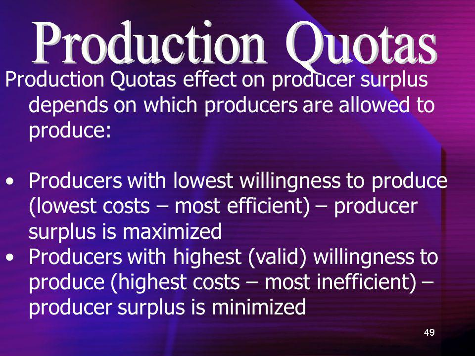 Production Quotas Production Quotas effect on producer surplus depends on which producers are allowed to produce: